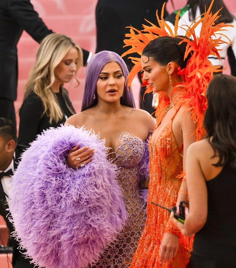Kylie Jenner and Kendall Jenner arrive for the 2019 Met Gala celebrating Camp: Notes on Fashion at The Metropolitan Museum of Art