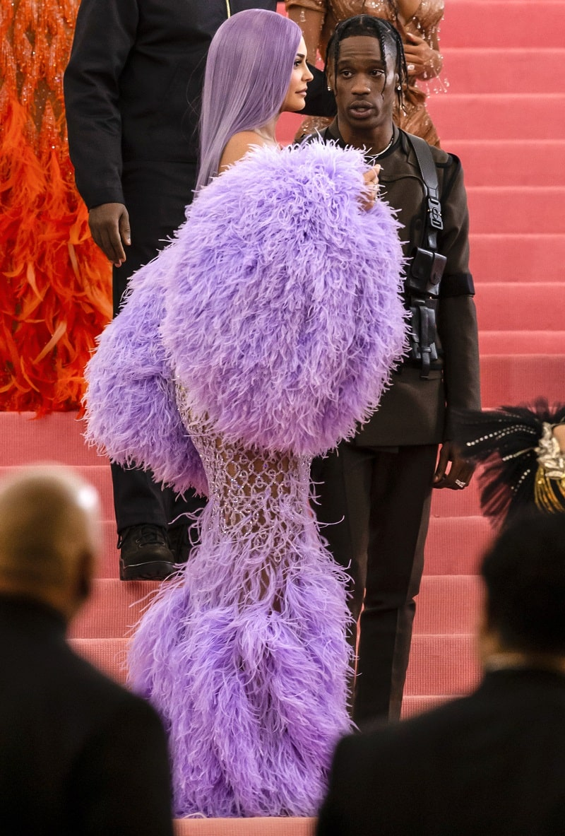Kylie Jenner and Travis Scott arrive for the 2019 Met Gala celebrating Camp: Notes on Fashion at The Metropolitan Museum of Art