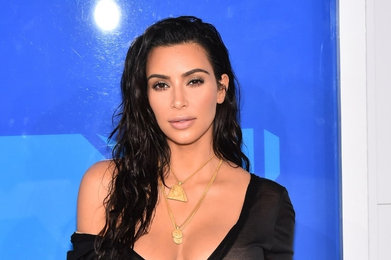 Kim Kardashian West (wearing a vintage John Galliano dress and Yeezy necklaces) at arrivals for 2016 MTV Video Music Awards VMAs - Arrivals 4, Madison Square Garden, New York, NY August 28, 2016
