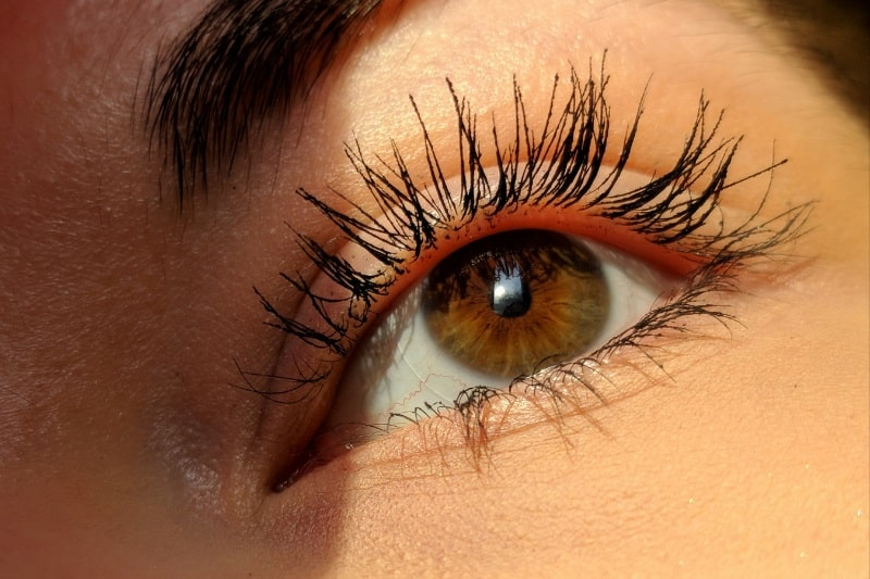 close-up of a woman's eye with mascara