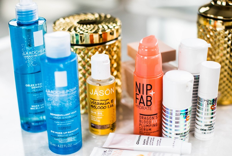 bottles of La Roche-Posay makeup remover and other skin care products